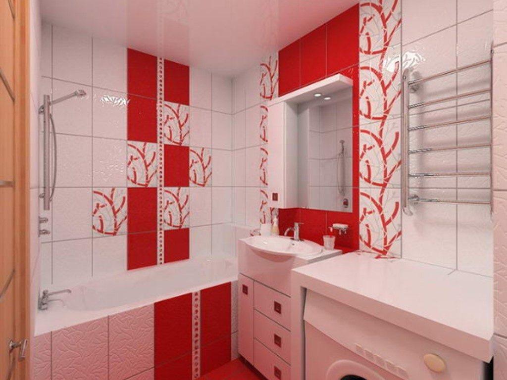 Дизайн красно-белой ванной комнаты