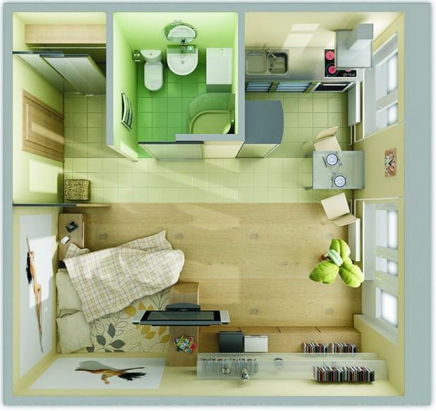 Три компонента на интериор малък апартамент забавно напълнена