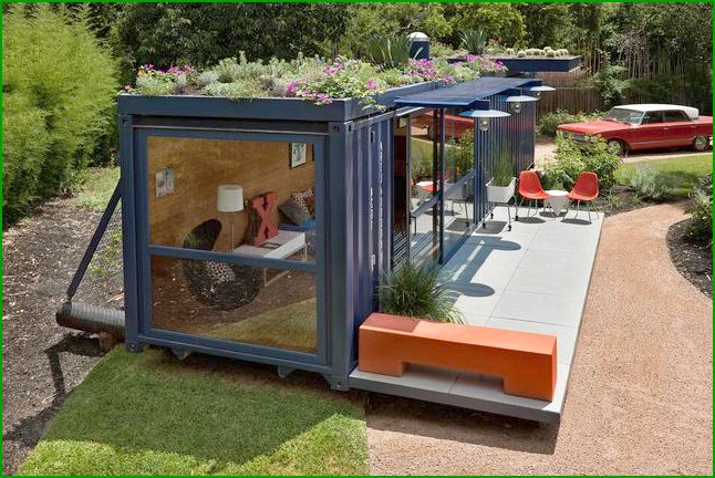 Low-budget house of cargo containers