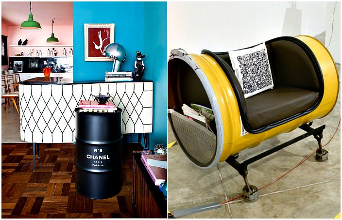 Unique furniture made of tin and wooden barrels.