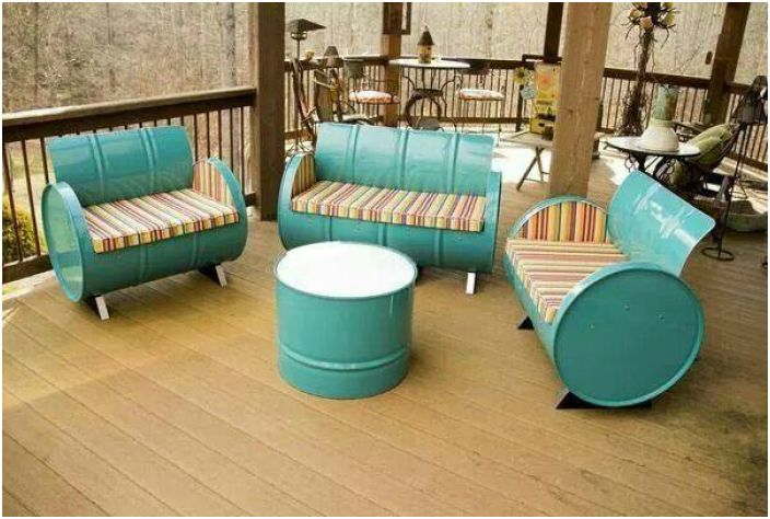 Garden furniture made of tin drums.