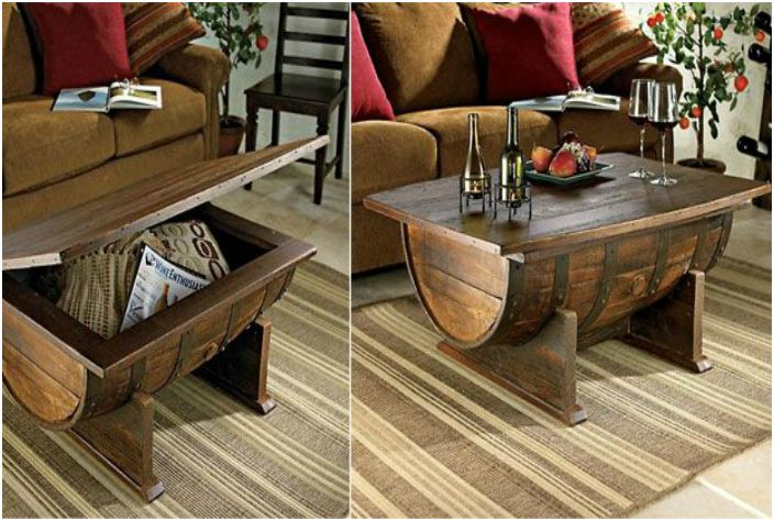 Coffee table of the wine barrel.