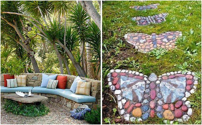 mur avec la d coration dans le jardin en pierre photo. Black Bedroom Furniture Sets. Home Design Ideas