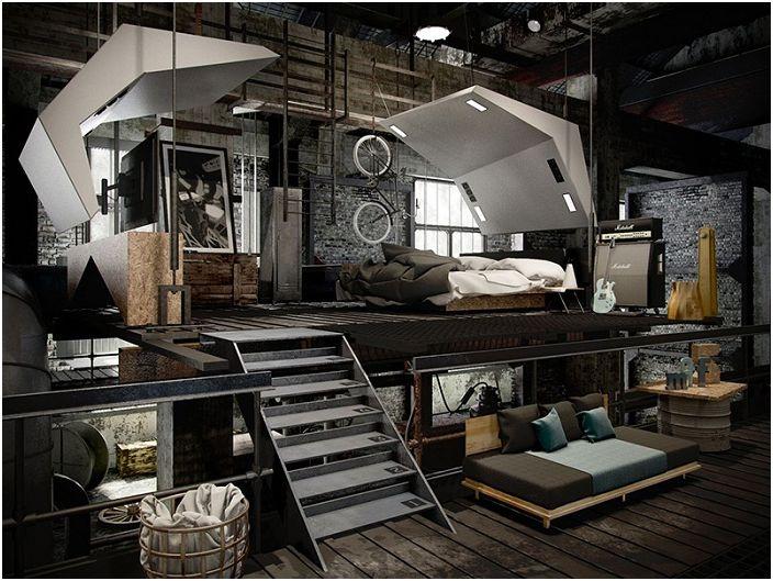 Splendida progettazione idee camera da letto in stile loft: 22 ...