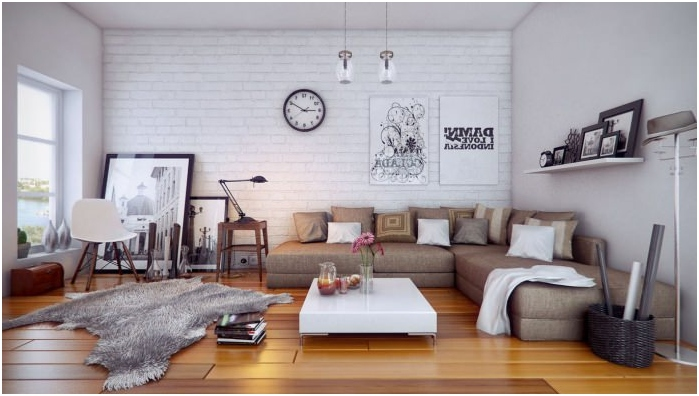 White brick wall in a living room interior