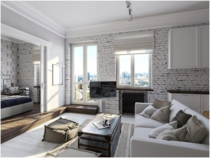natural white brick in the living room the ambience