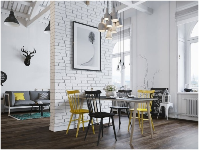 white brick wall in an interior