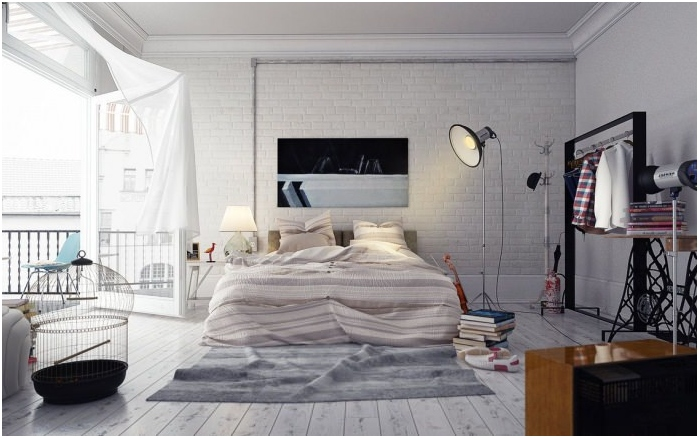 wall of bricks of white in the bedroom