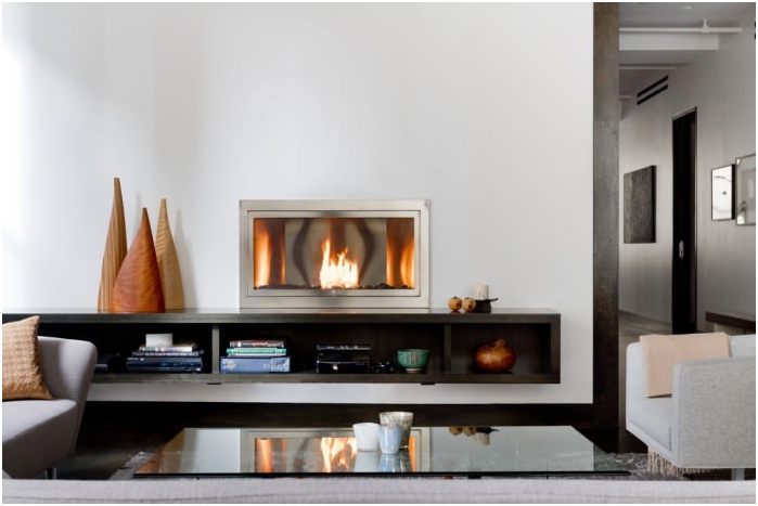 Bio Fireplace in the interior of the living room