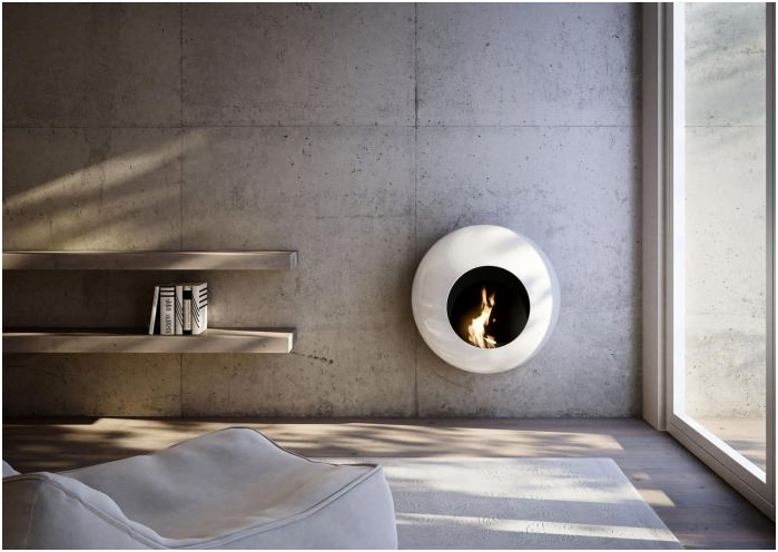Round Bio Fireplace in the interior of the living room