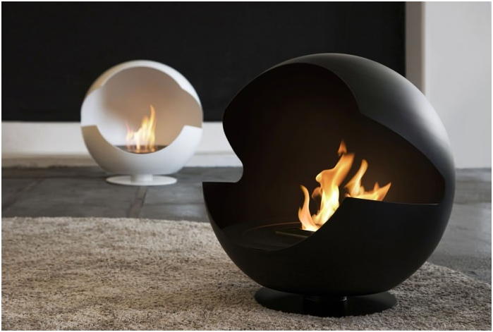 Round detached Bio Fireplace in the living room interior