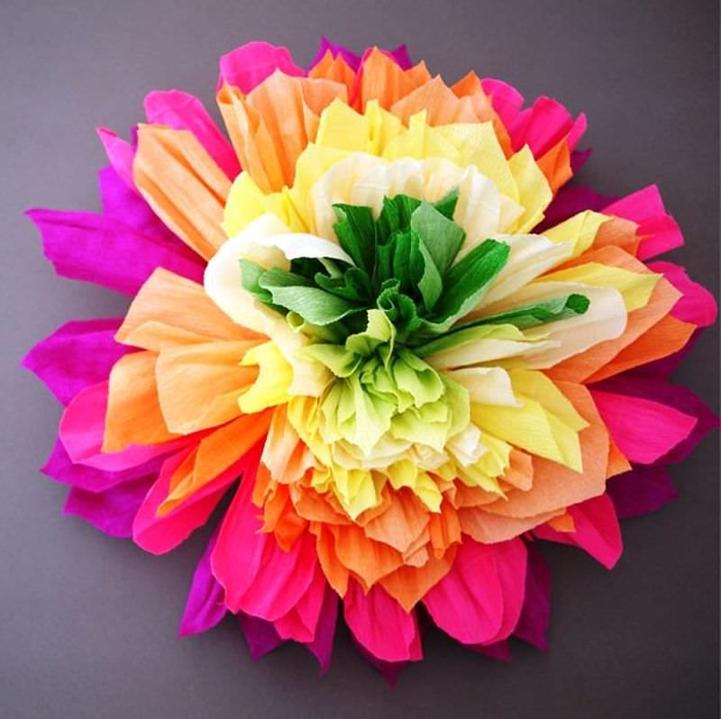 large flowers pleated paper
