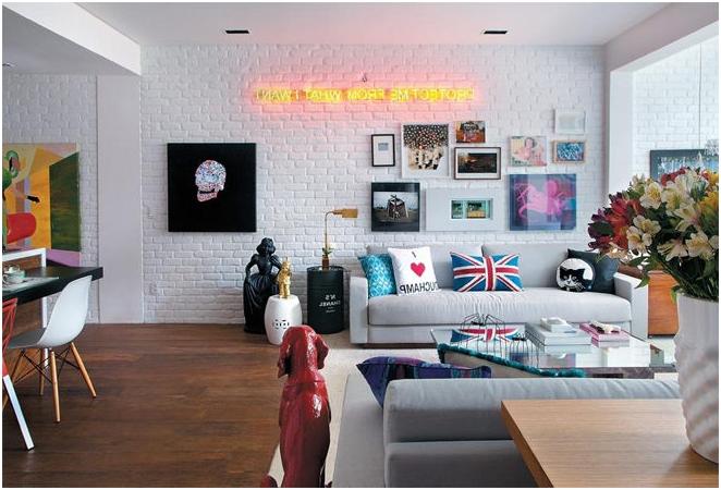 Декоративни тухли в интериора на апартамента