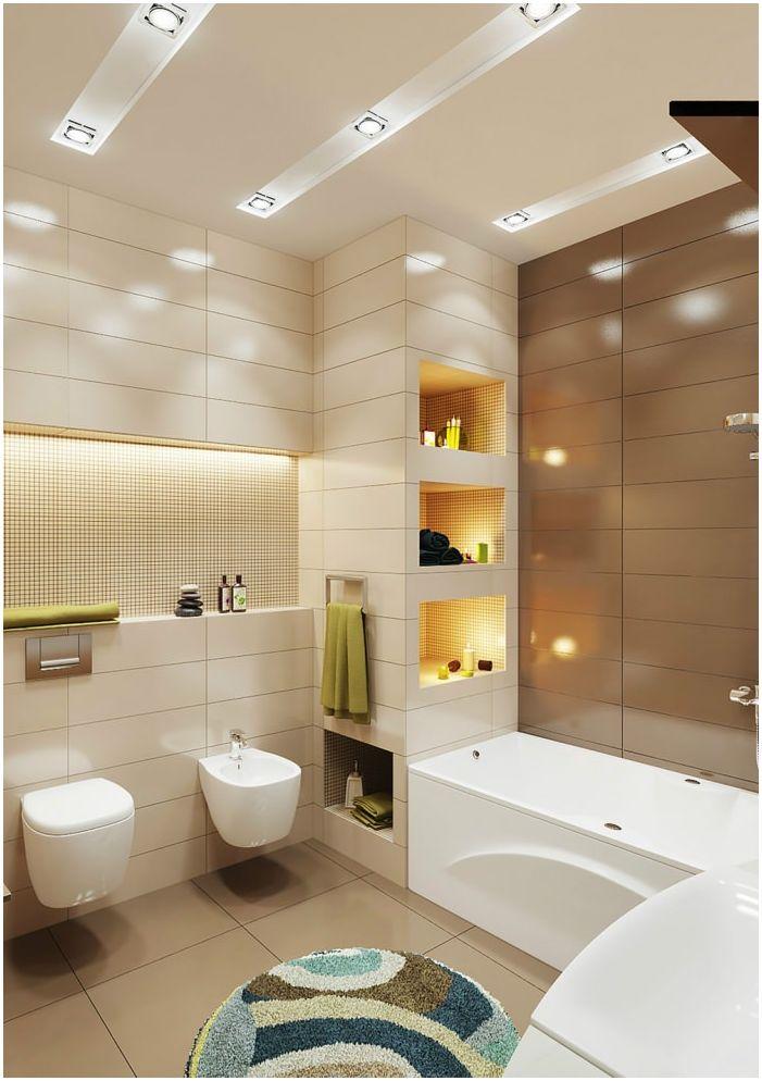 Дизайн бежово и кафяво баня