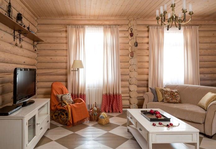 Дизайн лог дома: външна и вътрешна тапицерия
