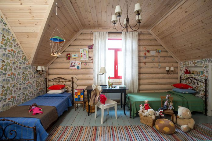 interior of a log house: children's room