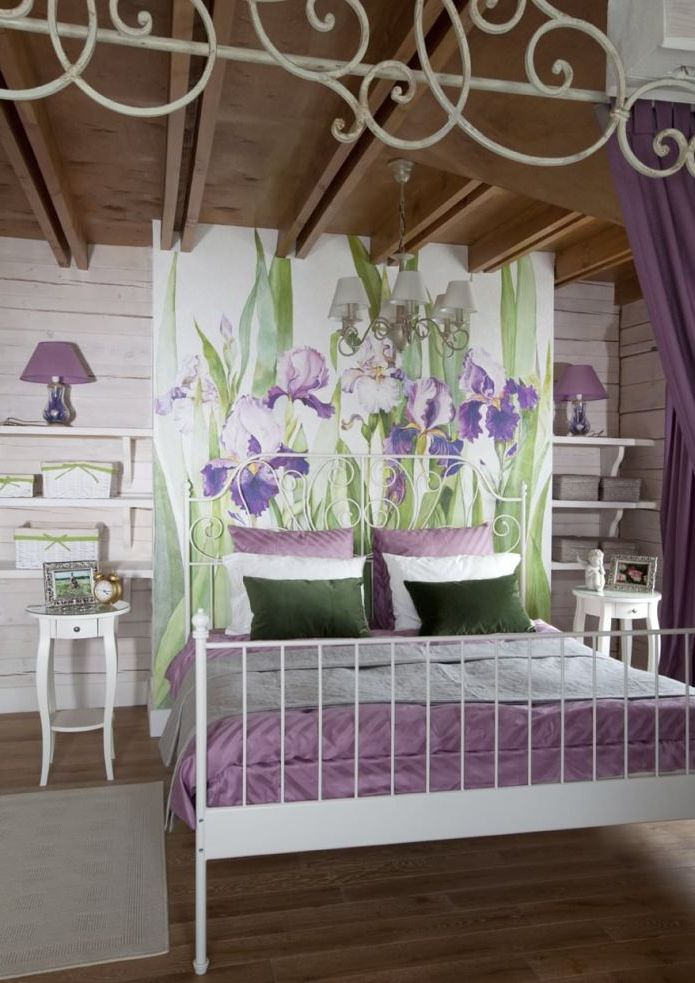 bedroom with irises in the design of houses in the style of Provence