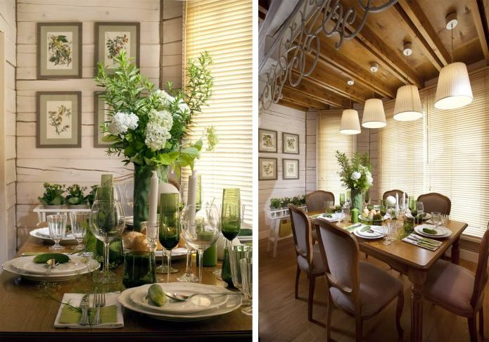 interior dining room in a country house in the style of Provence