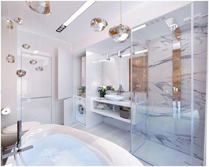 Интериорен дизайн красива баня 8 квадратни метра. м.