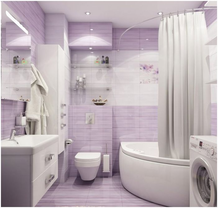 Bathroom design in purple tones