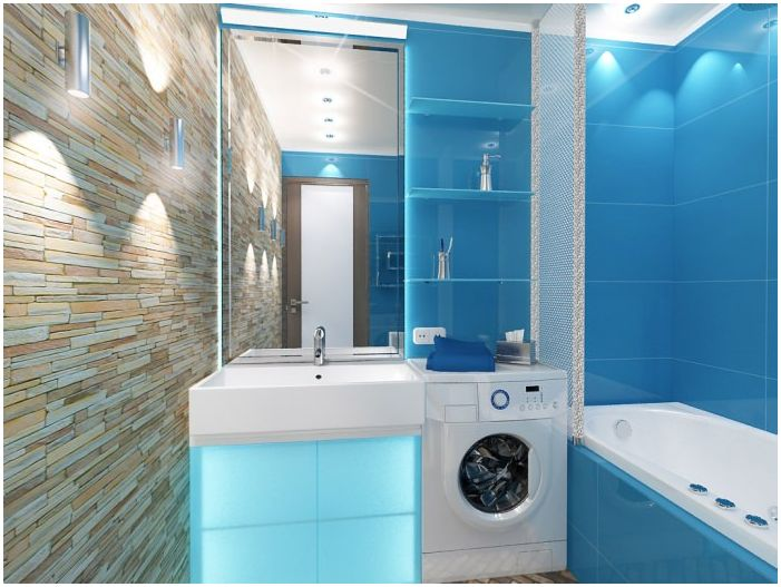 bathroom in blue tones