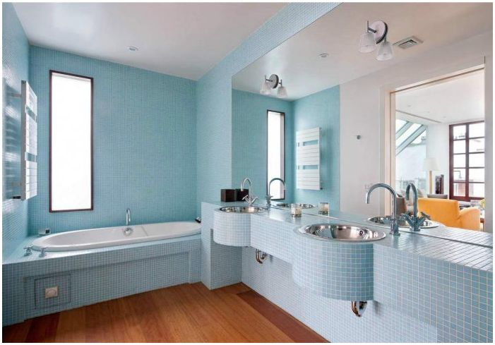 The design of blue bathroom