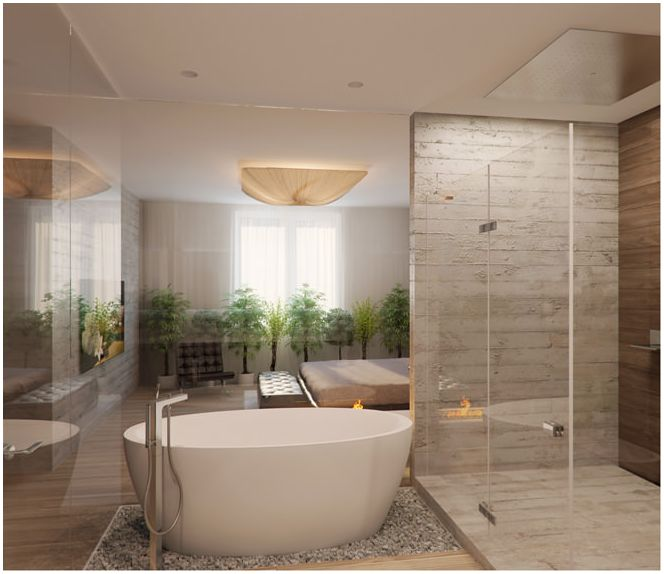 Design badezimmer in beige t nen for Gestaltung von badezimmern