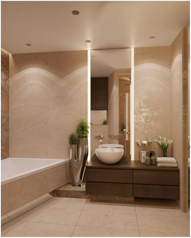 Дизайн бани в бежови тонове