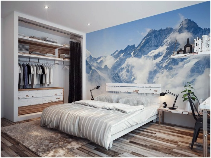 Mural in the modern interior bedroom