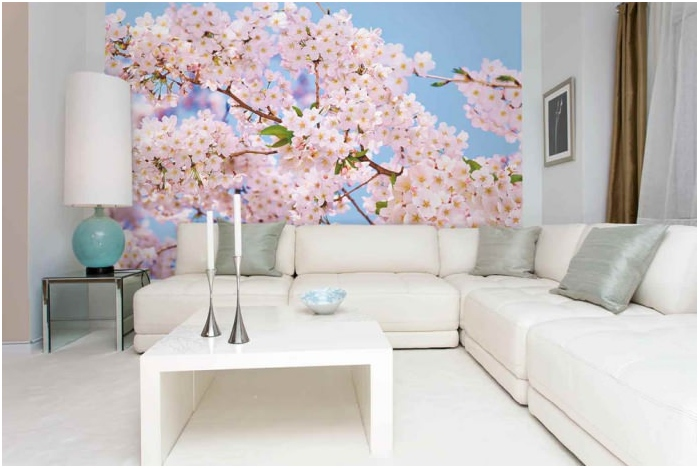 Mural with flowers in the living room interior design