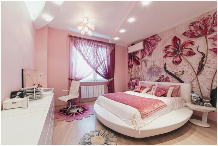 Photo wall with flowers in the design of bedrooms
