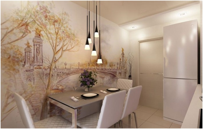 Kitchen interior with photo wallpapers