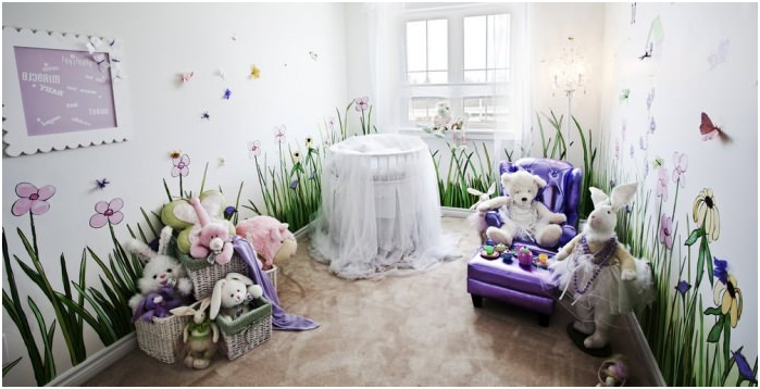 interior nursery for the newborn with photo wallpapers