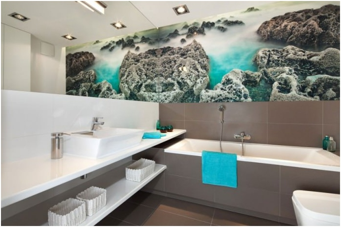 Mural in the modern interior of bathroom
