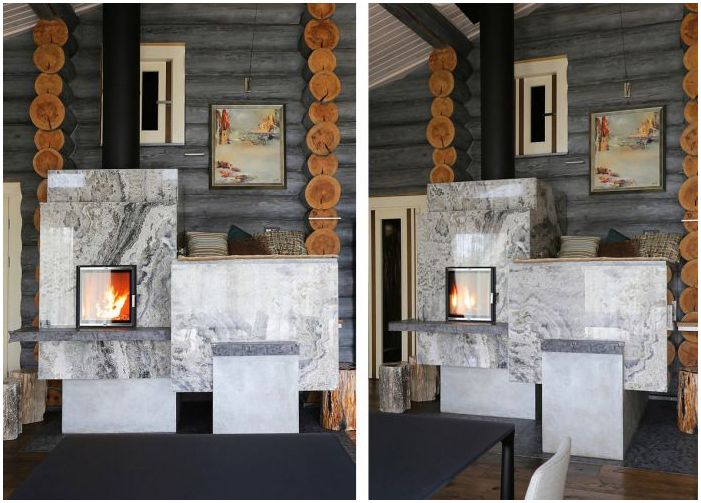 a modern interior in a log stove