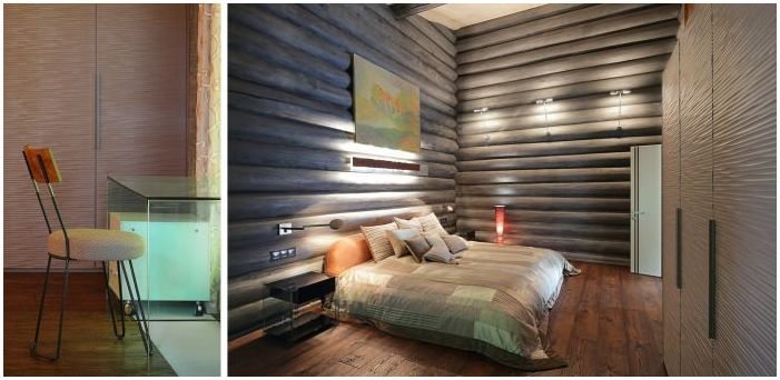 bedroom in the interior of a wooden house from logs