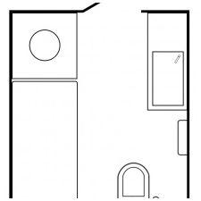 интериор баня в черно и бяло, 5 квадрат. м.