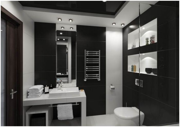 bathroom in black and white, 5 square. m.