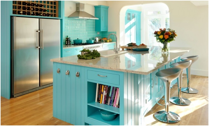 Kitchen interior in turquoise colors