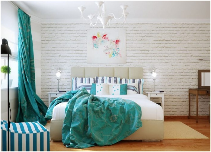 bedroom interior with turquoise