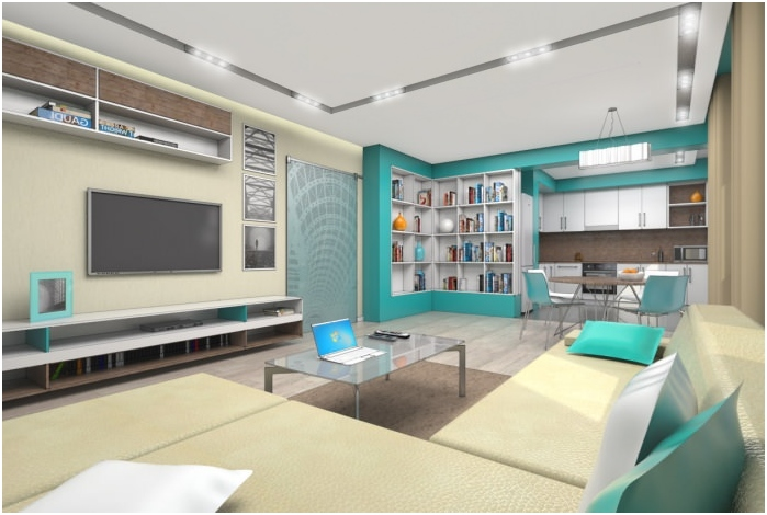 interior kitchen-living room in turquoise colors