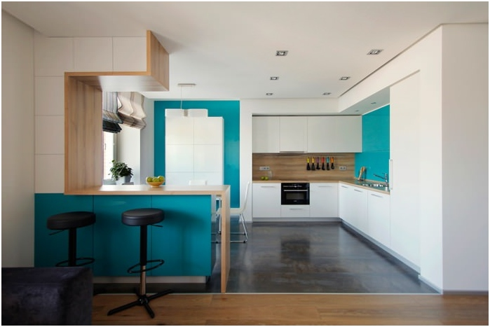 Kitchen interior with breakfast bar in turquoise colors