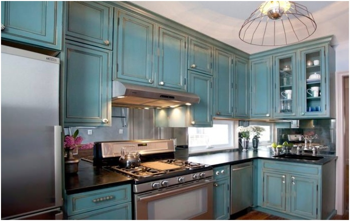 turquoise kitchen with effect aged surface