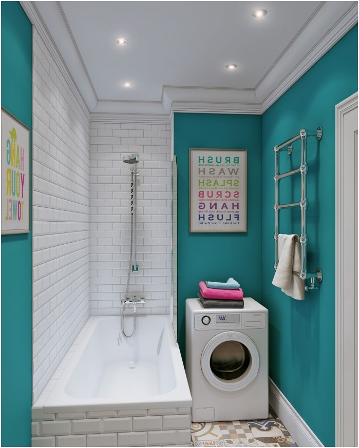 The turquoise color in the interior bathroom