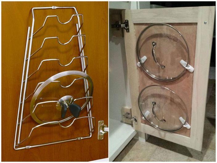Как разместить крышки от кастрюль на кухне своими руками фото