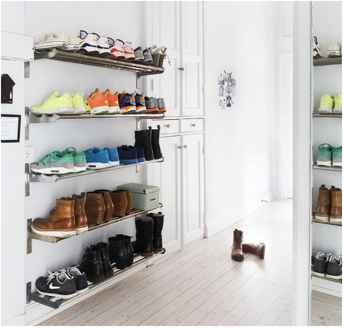 Shelves for storage of shoes
