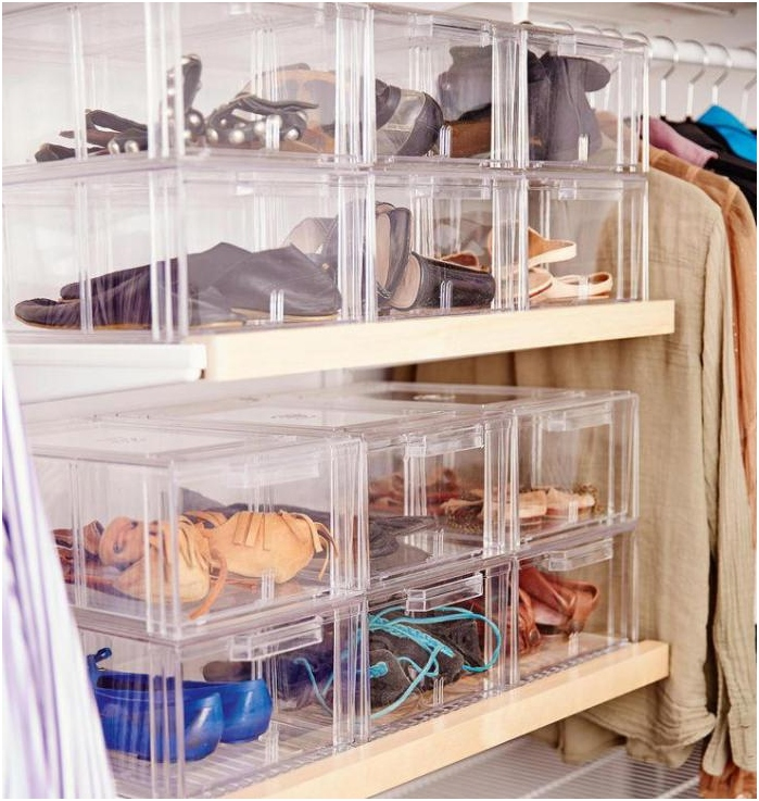 transparent containers for storage of shoes