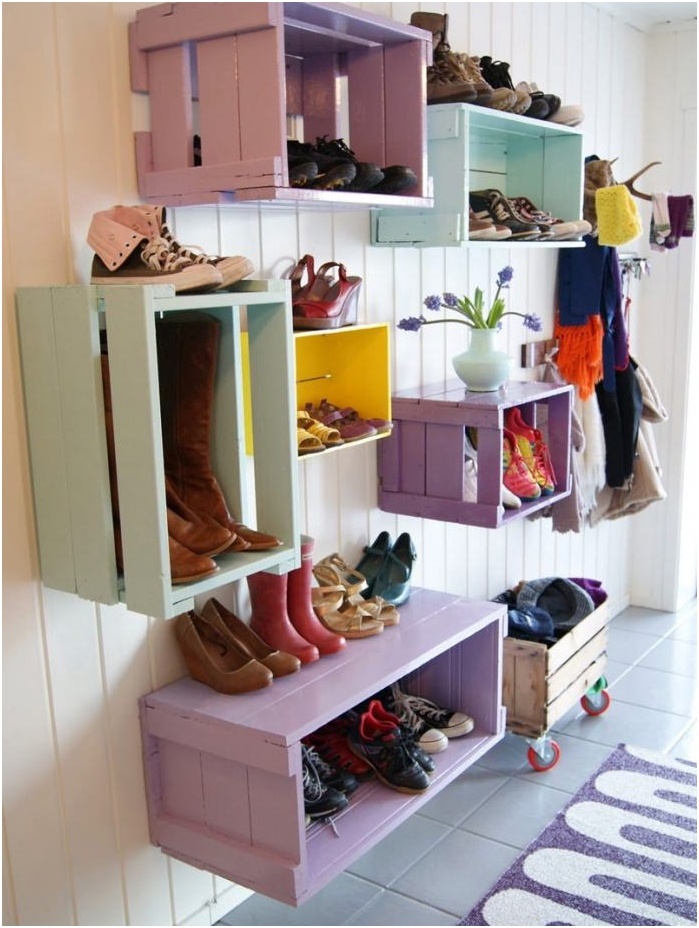wooden boxes for storage of shoes