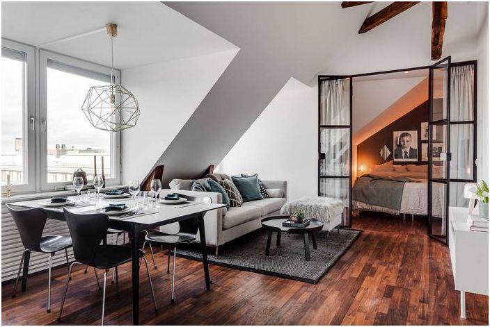 Как да направим апартамент-таванско помещение: 51 квадратен метър в Швеция