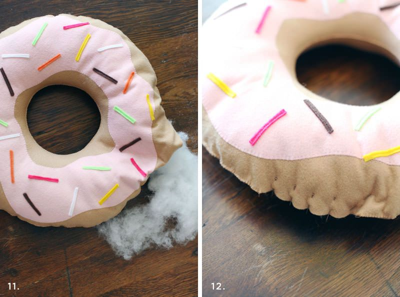 pillow-donut made of felt with their hands